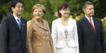 German Chancellor Angela Merkel and her husband Professor Joachim Sauer (G8 2007) with Japanese Prime Minister Shinzo Abe and his wife Akie Abe (G8 2008)